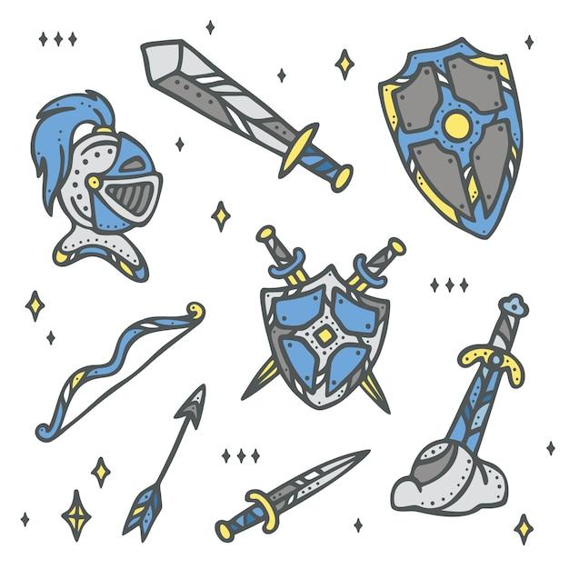 Ritter, Rüstungen und Waffensammlungsset | Download der Premium Vektor