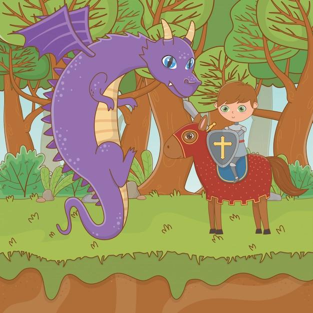 Ritter und drache des märchens Kostenlosen Vektoren