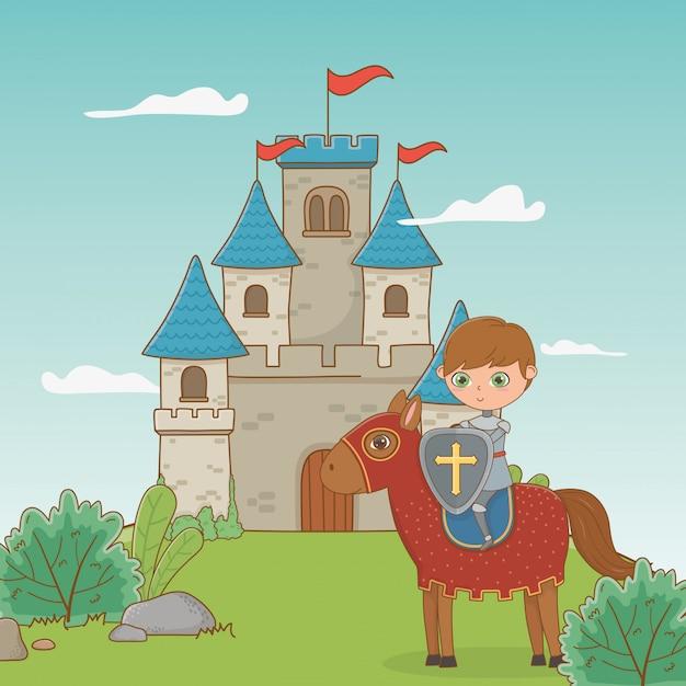 Ritter und pferd im märchendesign Premium Vektoren