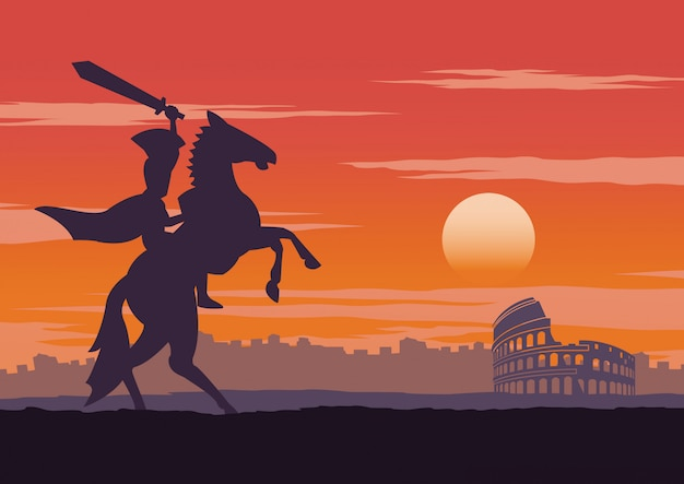 Ritter zu pferd in der nähe des kolosseums Premium Vektoren