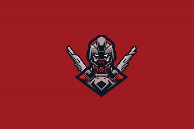 Robo gun e sports-logo Premium Vektoren