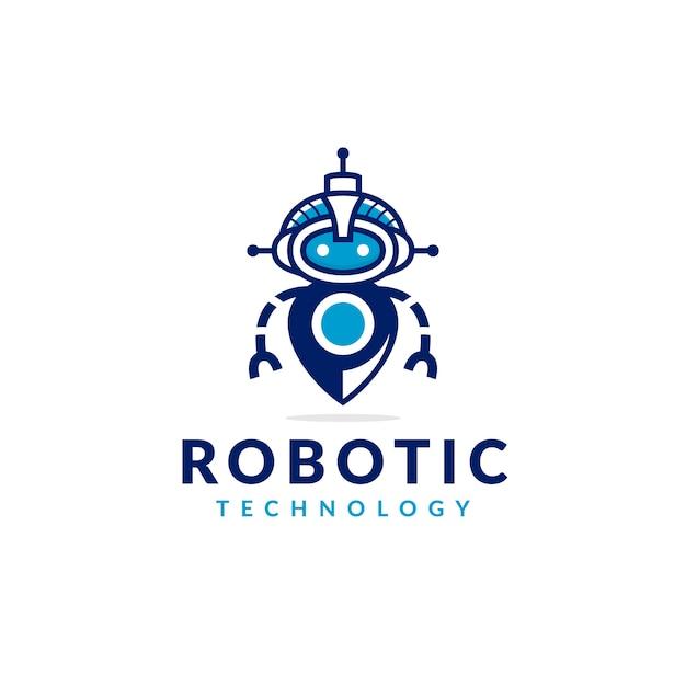 Robot locator logo design Premium Vektoren