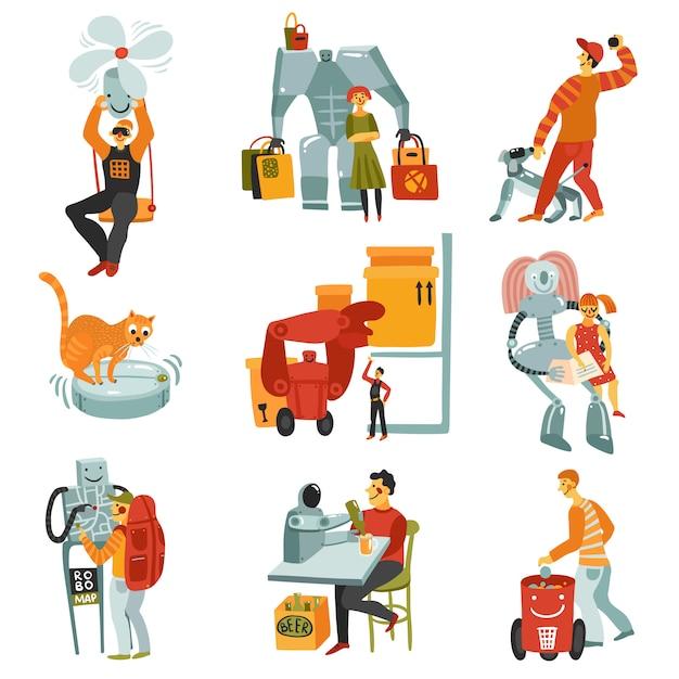 Roboter androids set Kostenlosen Vektoren