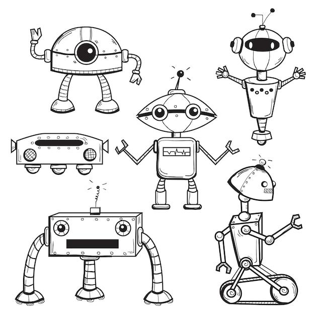 Roboter-auflistung Premium Vektoren