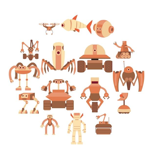 Roboter bildet die eingestellten ikonen, karikaturart Premium Vektoren