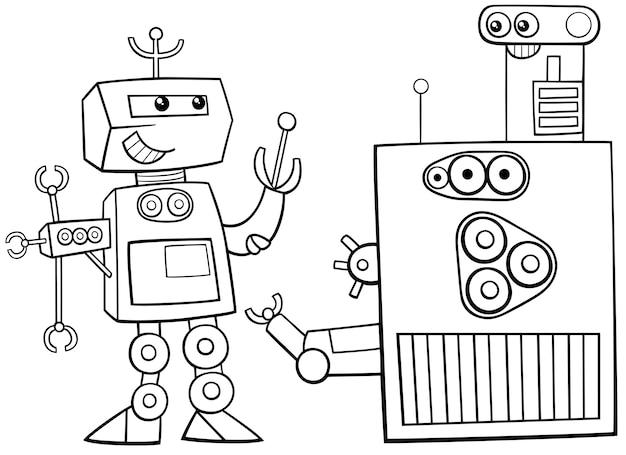 Roboter Charakter Malvorlagen Download Der Premium Vektor