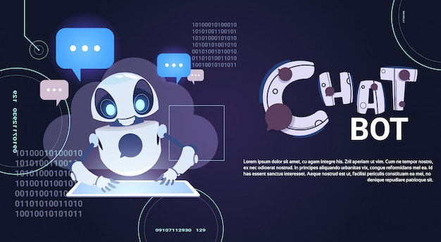 Roboter-chatter mit digitalen tablet Premium Vektoren
