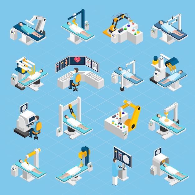 Roboter-chirurgie-isometrische ikonen eingestellt Kostenlosen Vektoren