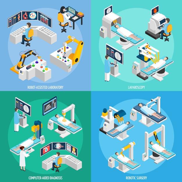 Roboter-chirurgie-isometrisches konzept des entwurfes Kostenlosen Vektoren