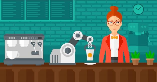 Roboter, der kaffee für einen kunden an der kaffeestube macht. Premium Vektoren
