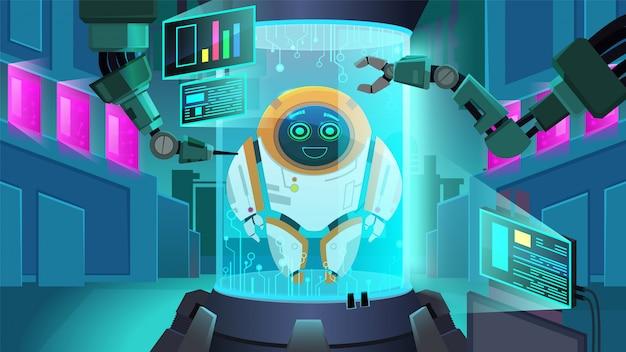 Roboter der nächsten generation erstellen Premium Vektoren