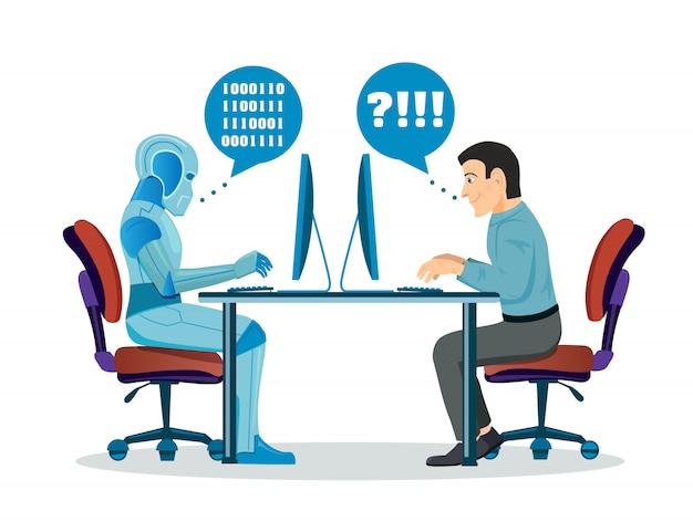 Roboter gegen den menschen Premium Vektoren