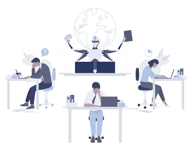 Roboter gegen menschliches konzept. künstliche intelligenz arbeitet schneller und besser als menschen. frist idee. maschine und leute, die im büro arbeiten. modernes robotertechnologiekonzept. illustration Premium Vektoren
