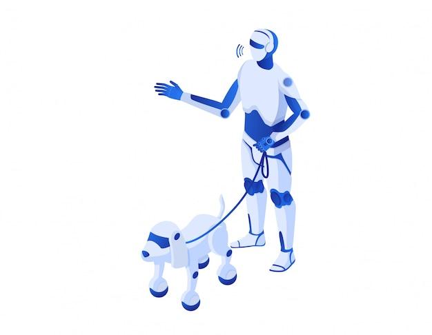 Roboter geht roboter isometrisch. roboterillustration humanoide weiße cyborgroboter helfen technologien zukunft. Premium Vektoren