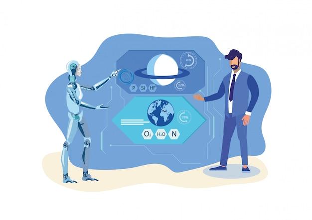 Roboter-helfer, wissenschaftler-flache vektor-illustration Premium Vektoren
