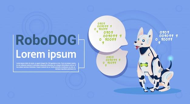Roboter-hunde-netter haustier-modernes roboter-haustier-künstliche intelligenz-technologie Premium Vektoren