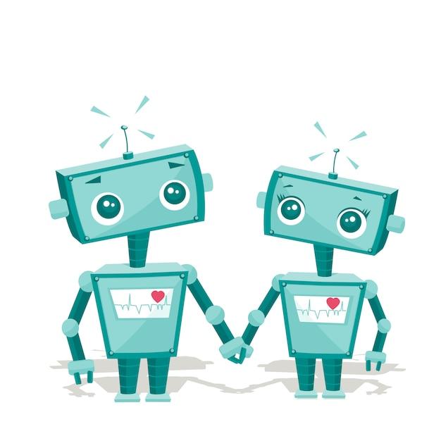 Roboter in der liebe Premium Vektoren