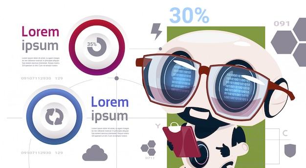 Roboter infographic-schablone und elemente mit roboter-technologie der künstlichen intelligenz Premium Vektoren