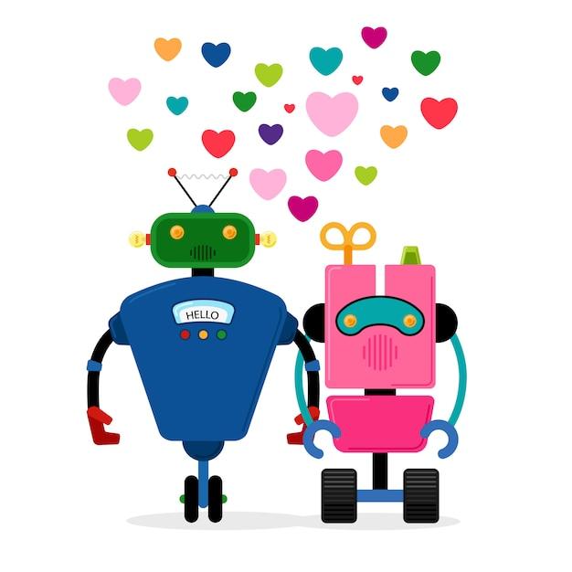 Roboter-liebesgeschichte Premium Vektoren