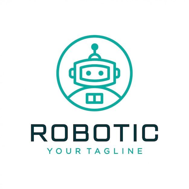 Roboter-logo-design-konzept. universelles roboter-logo. Premium Vektoren
