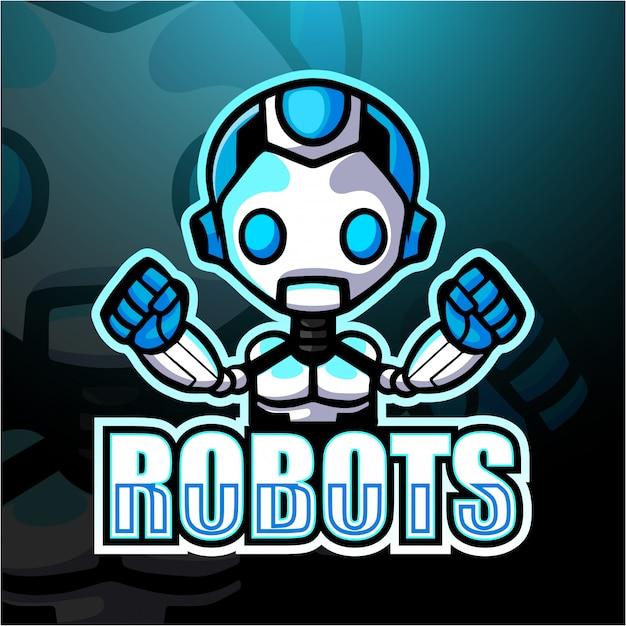 Roboter maskottchen esport illustration Premium Vektoren