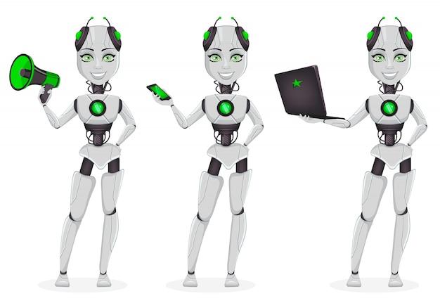 Roboter mit künstlicher intelligenz, weiblicher bot Premium Vektoren