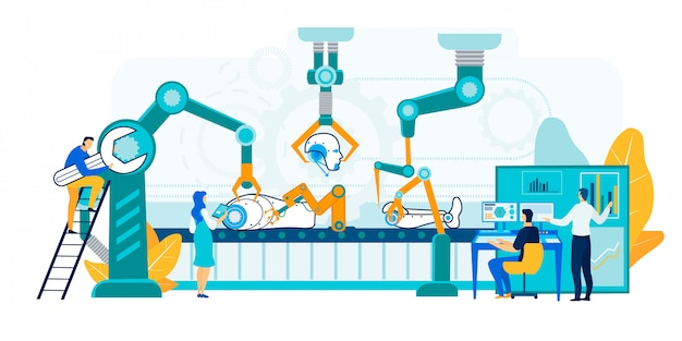 Roboter-produktions-illustration. Premium Vektoren