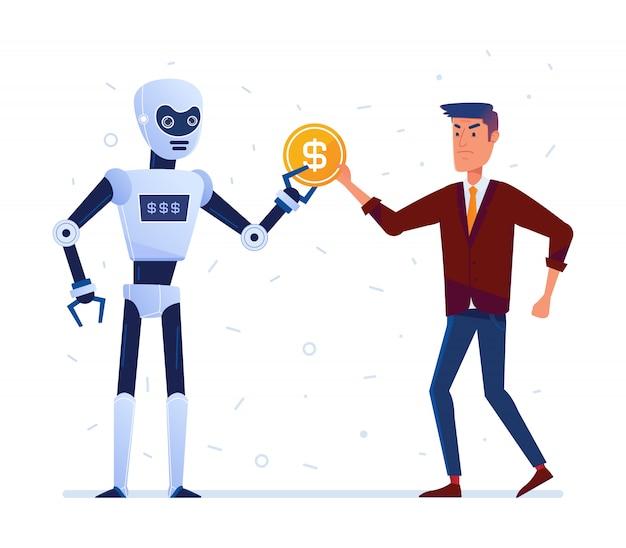 Roboter stiehlt geld vom traurigen mann Premium Vektoren