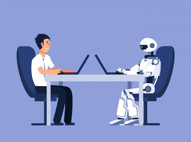 Roboter und geschäftsmann. roboter gegen menschen, zukünftiger ersatzkonflikt. ai, vektorillustration der künstlichen intelligenz Premium Vektoren