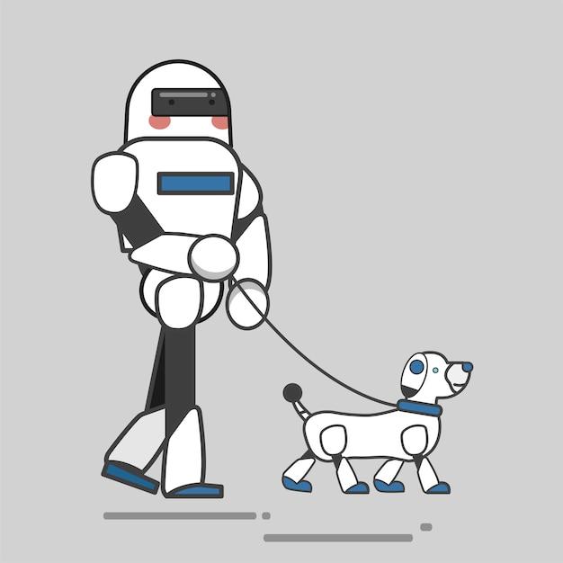 Roboter und hund Kostenlosen Vektoren