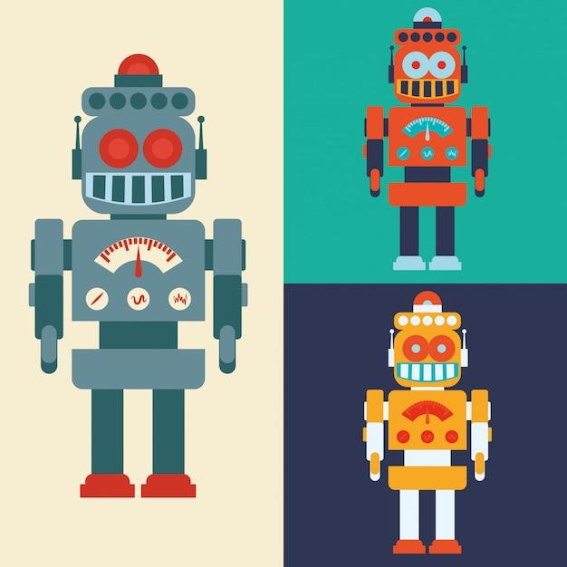 Roboter- und technologiedesign Premium Vektoren