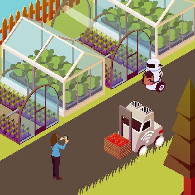 Roboter und treibhaus illustration Kostenlosen Vektoren