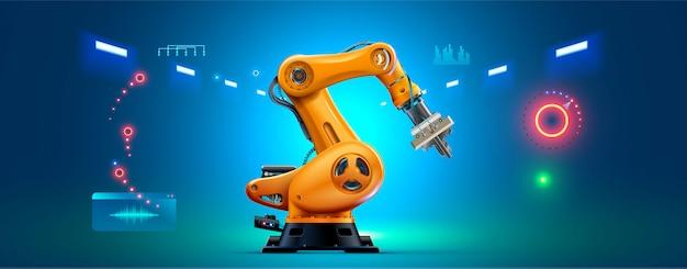 Roboterarm 3d auf weißem hintergrund. industrieroboter-manipulator. Premium Vektoren