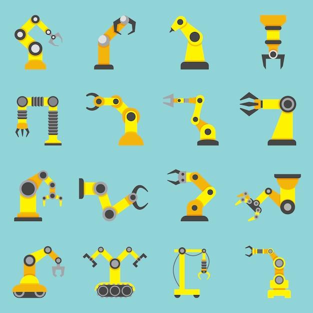 Roboterarm-flache gelbe ikonen eingestellt Kostenlosen Vektoren