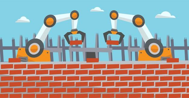 Roboterarme arbeiten auf der baustelle. Premium Vektoren