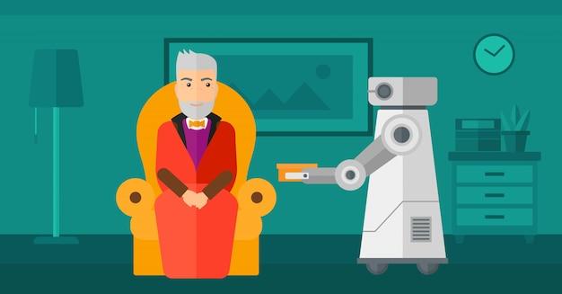 Roboterassistent, der einem älteren mann lebensmittel bringt. Premium Vektoren