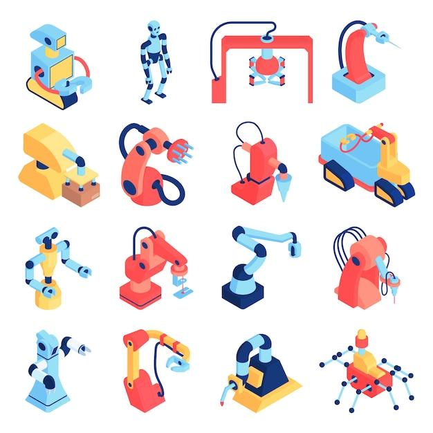 Roboterautomatisierungssatz von isolierten symbolen mit robotern und roboterarmen der verschiedenen körperformvektorillustration Kostenlosen Vektoren