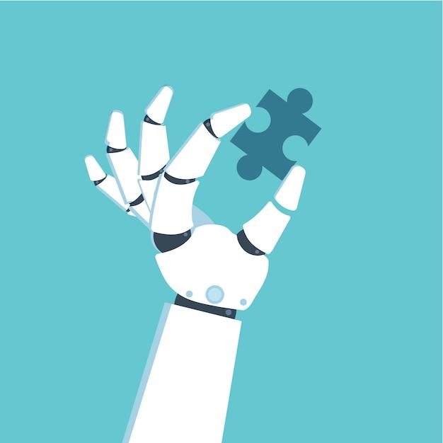 Roboterhand, die puzzle hält. problem- und lösungskonzept. Premium Vektoren