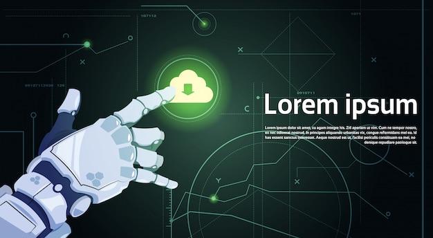 Roboterhandnoten-wolken-datenbank-wolken-datenverarbeitungstechnologie-roboter und konzept der künstlichen intelligenz Premium Vektoren