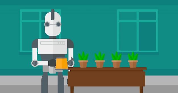 Roboterhaushälterin, die blumen wässert. Premium Vektoren