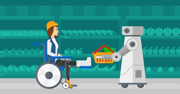 Roboterhelfer, der im supermarkt arbeitet. Premium Vektoren