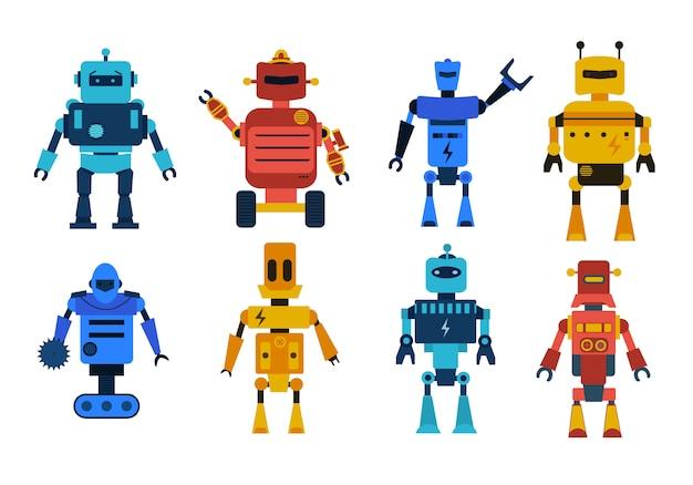 Roboterspielzeug-zeichensatz. sammlung von karikaturrobotern, transformator und androiden lokalisiert auf weißem hintergrund. technologie, die zukunft. Premium Vektoren