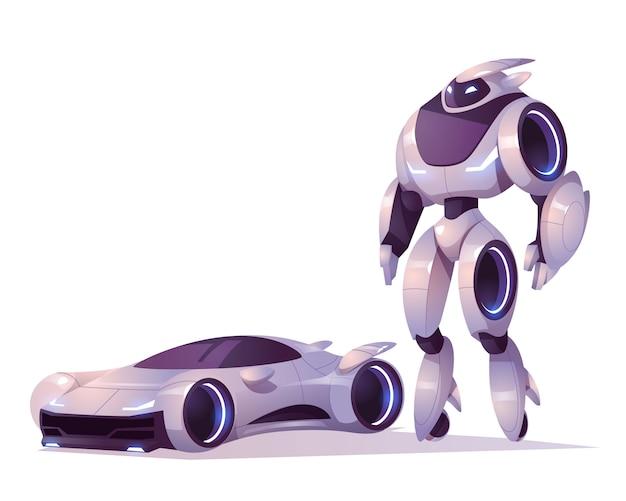 Robotertransformator in form von android und auto isoliert. vektorkarikaturillustration des futuristischen cyborg, des mechanischen soldaten, des cyborgcharakters Kostenlosen Vektoren