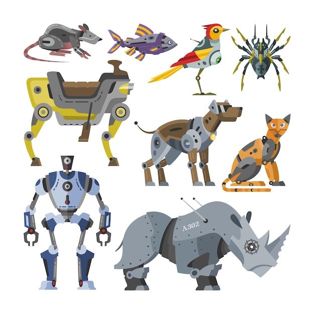 Robotervektorkarikaturroboter scherzt spielzeugtiercharakterkatzenhunderobotikmonster Premium Vektoren