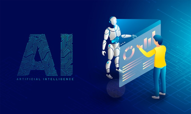 Robotic datenüberwachung. Premium Vektoren
