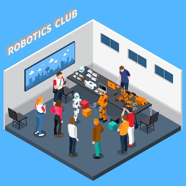 Robotics club isometric zusammensetzung Kostenlosen Vektoren