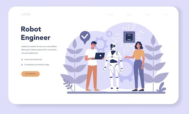 Robotik-webbanner oder landingpage. robotertechnik und programmierung. Premium Vektoren