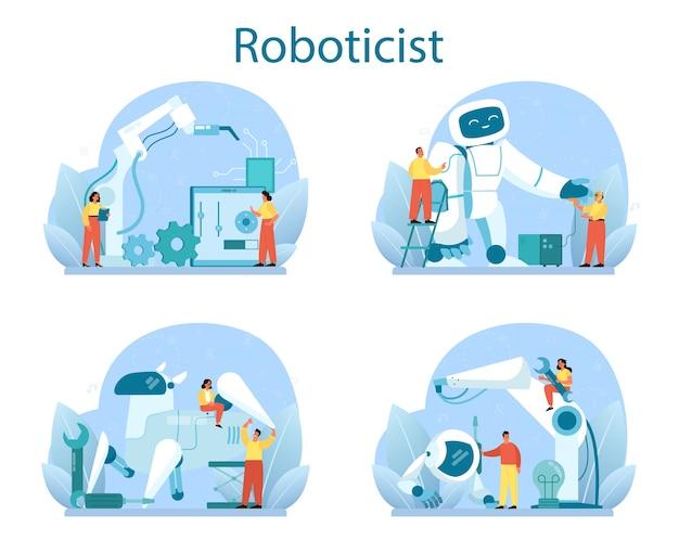 Robotiker-konzeptsatz. robotertechnik und konstruktion. Premium Vektoren