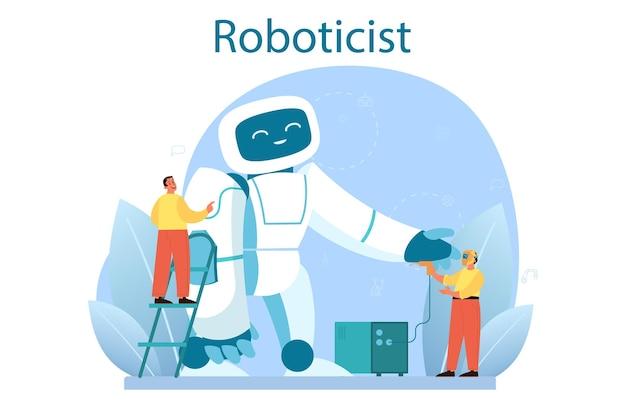 Robotikkonzept. robotertechnik und konstruktion. idee der künstlichen intelligenz in der bauindustrie. maschinenautomatisierung. isoliert Premium Vektoren
