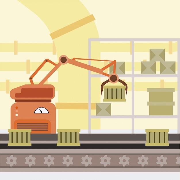 Robotisierte fertigungsstraße-karikaturillustration. herstellung automatisierter prozess Premium Vektoren